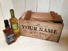 Personalised Rustic, Wooden Whisky Crate Box w/Lid - Weddings Birthdays etc