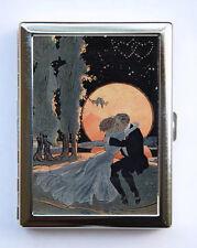 Art Deco Couple Kissing Cigarette Case id case Wallet Business Card Holder moon