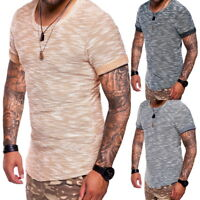 Hommes T-shirts Jacquard Slim Fit T-shirt à manches courtes Fitness Tops Casual