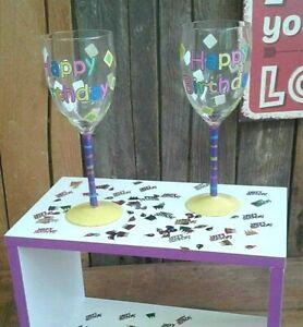 """Sektglas Glas Weinglas  """" Happy Birthday"""" Geburtstagsgeschenk Deko Tisch 23 cm"""