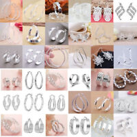 Women 925 Sterling Silver Ear Stud Hoop Dangle Earrings Wedding Bridal Jewelry