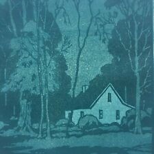 Vintage Arts & Crafts woodblock print Brown County listed Illinois Mission