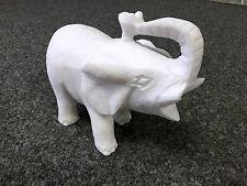 Tierfigur ELEFANT Marmor weiss Thassos Steinelefant Dekofigur Naturstein Afrika
