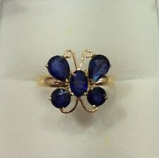 14k Solid Yellow Gold Sapphire Butterfly Ring 2.40GM/2.55CT/Size8.