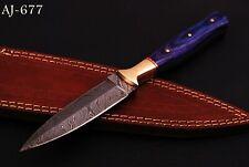 Hand Forged Damascus Steel Boot Dagger Hunting Knife- Bras Bolster Handle-Aj 677