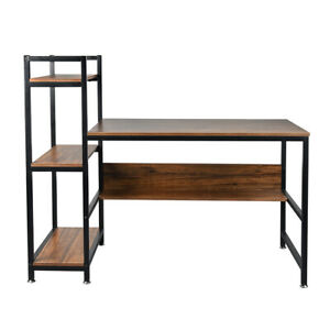 Computer Desk with 4-Tier Storage Shelves Home Office Study Table Workstation