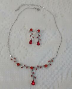 Silver-tone/Red Rhinestones Dangle Necklace and Pierced Earring Set