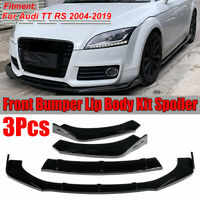3PCS Glossy Black Front Bumper Lip Body Kit Spoiler For Audi TT RS 2004-2019