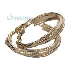 Smooth 9K Yellow Gold Filled Womens Snap Closure Hoop Earrings Jewelry