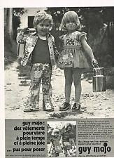 PUBLICITE  1972   GUY MAJO  vetements enfants