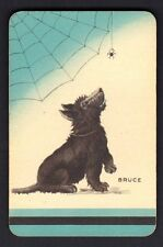 Vintage Swap/Playing Card - Dog Watching Spider  Titled - Bruce  (LINEN)