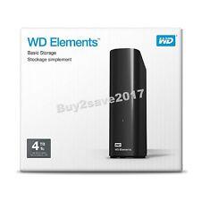 Western Digital WD Elements 4TB HDD USB 3 External Desktop Storage WDBWLG0040HBK