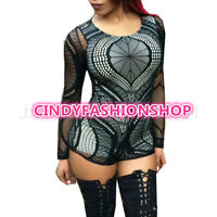 New Hot Sexy  Sheer Lace Club Catsuit Jumpsuit Mesh Patchwork Romper Bodysuit