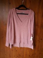 RRP £85 ANTHROPOLOGIE JUMPER TOP Rose Pink 100% Merino Wool S / UK 12-14-16 NEW