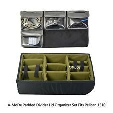 New Padded Divider  Lid Organizer Fits Pelican 1510 case OD Green (No Case)