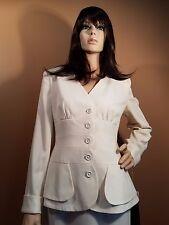 BNWT Judith Ann Designer Ivory White Silk Jacket Blazer & Skirt Suit, US 10