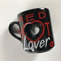 Red Hot Lover Coffee Mug VTG Papel Cup Black Red Hears Lips Drink Valentines Day