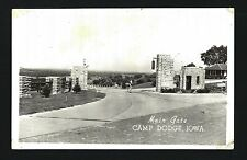Camp Dodge Iowa c1940s Guard at Old Stone Main Gates, Soldiers FREE FRANK Stamp