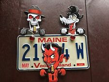 SKULL, DEVIL & WOLF TOPPERS MECHANICAL METAL LICENSE PLATE TOPPERS VERY COOL