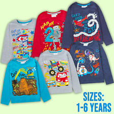 Boys Age Top Long Sleeve Birthday T-Shirt Cotton Rich I Am 1 2 3 4 5 6 Years Old