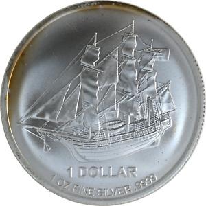 1 oz Silver Coin 2017 Cook Islands HMS Bounty Ship $1 .9999 Fine, Toning