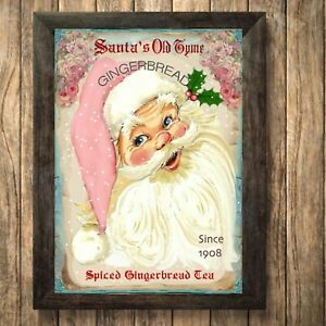 Father Christmas Print Sign,Picture  Wall Decor, a4 Unframed Gingerbread santa