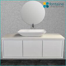 1500 White Bathroom Vanity Large Ceramic Basin 40mm Thick Stone Top Modern