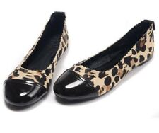 Tory Burch Ballerina Abbey Flats Scrunched Leopard Brown Leather 7.5