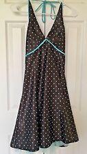 Jessica McClintock Gunne Sax Homecoming Dress Halter Brown Aqua Womens Size 5/6