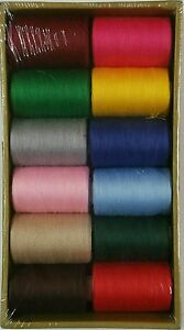 12 Spools Sewing Thread Polyester Assorted Colors 1200 yards each Spool - NEW