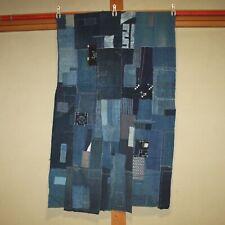 Japanese Antique Natural Indigo dye Cotton Patched Sashiko BORO Blue Japan c061