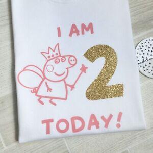 Peppa Pig Birthday 2nd Birthday Tshirt Second Girls Birthday Top