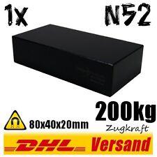 Neodym Magnet 80x40x20mm schwarzer Dauermagnet N52 200kg Industrie Blockmagnet