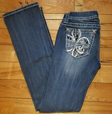 NWT Womens MISS ME JEANS Rhinestone Bling Signature Slim Boot Jeans Size 25 $109