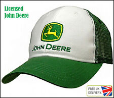 UK Seller New Licensed John Deere White Green Adjustable Cap Trucker Mesh Hat