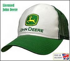 Vendedor Reino Unido Nuevo Con Licencia De John Deere Blanco Verde Sombrero De Malla Ajustable Gorra Camionero