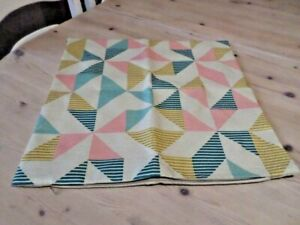 CUSHION COVER in PINK, TEAL, MUSTARD on BEIGE BACKGROUND with GEOMETRIC DESIGN
