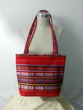 NWOT ECUADOR Shoulder Hand Bag Tote Purse Red Multi-Color Wool Cotto Boho Hippie