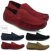 Mens Genuine Suede Leather moccasin Slipper Loafers Winter Shoes Driving Size UK