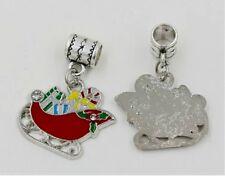 10pcs Red ENAMEL Christmas Sleigh Dangle Bead fit European Charm Bracelets