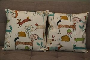 Cushion cover handmade set of 2 17''x17'' cotton freaky animals pattern