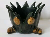 VINTAGE CERAMIC BLACK PLANTER HANDS AND FEET RARE POTTERY HALLOWEEN FUN