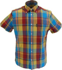 Trojan Mens Mustard Check Short Sleeved Shirts and Pocket Square