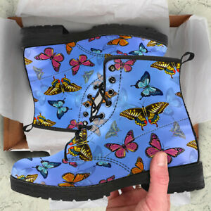 Colorful Butterflies Women Boots, Butterfly Lover Vegan Leather Booties - NEW