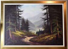 Alpenpanorama BRANDL Walddurchblick Originalgemälde Ölbild Alpen Gebirge
