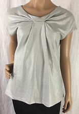 New York & Company Silver Shimmering Top Women's Size S
