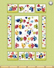 "$7.50 Per Panel Susybee EVIE Love Birds Panel Quilt Fabric ~ 35"" x 44"""