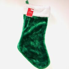 Green & White Faux Fur Christmas Stocking Plush NWT