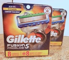 GILLETTE FUSION 5 PROGLIDE CARTRIDGES 8 PACKS X 2 (LOT OF 2) TOTAL 16 COUNT