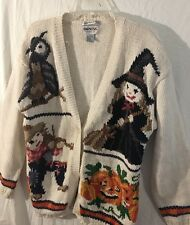 Vintage Empress Halloween Cardigan Sweater Witch Pumpkin White Size Large